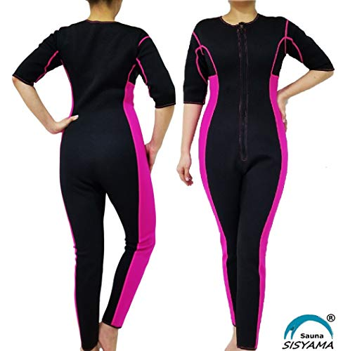SISYAMA Sauna Sweat Workout Exercise Fitness Weight Loss Hot Slimming Suit Men Women (Pink-Long, Large) (Best Sauna Suit To Lose Weight)