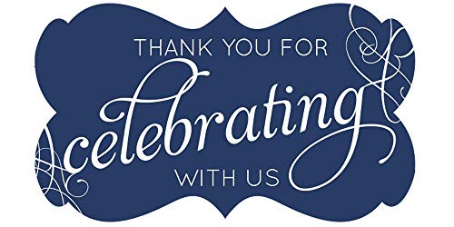 Fancy Frame Thank You Stickers Wedding Favors Set of 54 (Navy)