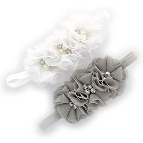 My Lello Infant Baby Flower Headbands Chiffon Fabric Beaded Trio 2-Pack (White/Gray)