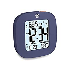 Marathon CL030058FB Small Compact Alarm Clock with Repeating Snooze, Light, Date and Temperature. Batteries Included Travel Collection. Special Edition Color - French Blue