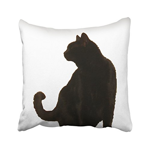 Accrocn Decorative Pillowcases Halloween Black Cat Silhouette Throw Pillow Covers Cases Cushion Cover Case Sofa 16x16 Inches One Sided (Halloween Black Cat Silhouettes)