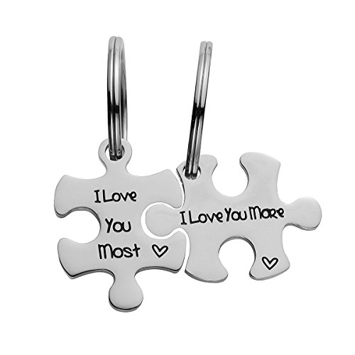 omodofo Valentine's Day His and Hers Puzzle Piece Pendant Necklace/KeyChain Set Personalized Couples Stainless Steel Hand Stamped Gift Jewelry Chain/Keyring (I love you more & most (Keychain))