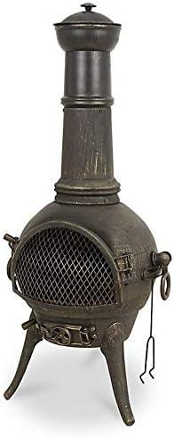 Chimenea/quemador de leña Etinas de hierro fundido (calentador grande de jardín, brasero para barbacoa): Amazon.es: Jardín