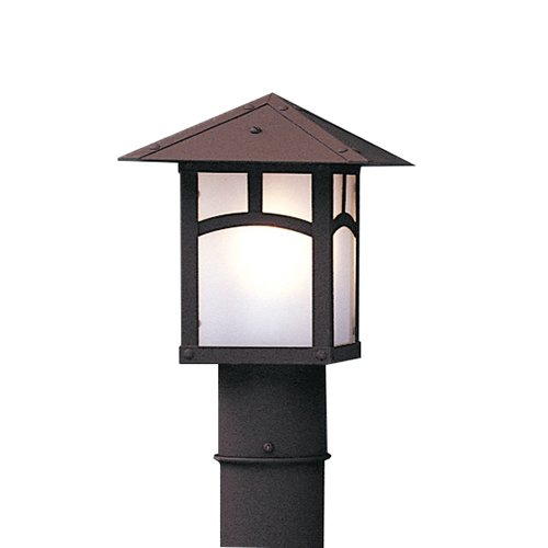 Post 7 Black Lights (Arroyo Craftsman EP-7AF-BK Evergreen Post Mount Light Fixture with Classic Arch Overlay, 7