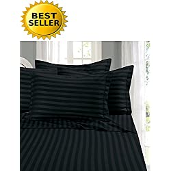 Elegant Comfort #1 Bed Sheet Set on Amazon - Super Silky Soft - 1500 Thread Count Egyptian Quality Luxurious Wrinkle, Fade, Stain Resistant 6-Piece STRIPE Bed Sheet Set, Queen Black