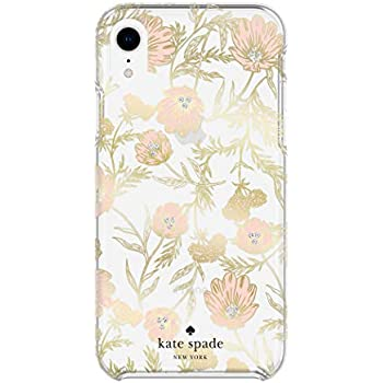 Kate Spade New York Phone Case for Apple iPhone XR Protective Phone Cases with Slim Design Drop Protection and Floral Print, Blossom Pink/Gold with Gems