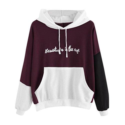 Women Teen Girls Casual Letter Print Long Sleeve Hoodies Sweatshirt Pullover Fashion Tops Blouse
