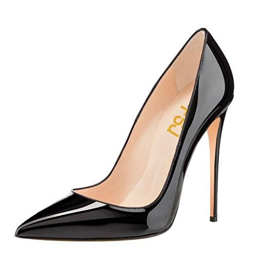 FSJ Women Casual High Heel Pointy Toe Pumps Sexy Slip On Stilettos Dress Shoes 10 cm Size 11 Black - Pointy High Heel Pump