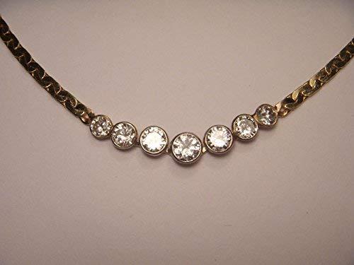 Stunning Estate 14K Yellow Gold Diamond Station 2 Carat Necklace ()