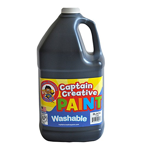 Captain Creative Washable Paint, Gallon, Black, Pack of 6