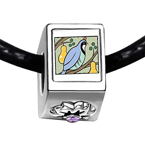 Partridge In A Pear Tree Storybook Light Amethyst Crystal June Birthstone Flower Charm Bracelets