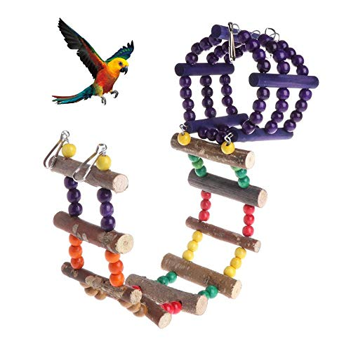 AUOKER Pet Bird Parrot Swing Toy, Climbing Ladder Parrot Hamster Log Swing Hanging Combination Bridge Toys for Cockatiels, Budgie, Conures, Macaws, Parrots, Love Birds, Finches, Hamster