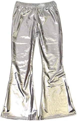 子供ダンス衣装 メタリック ブーツカットパンツ ロング丈 無地 ウエストゴム T91203-kids