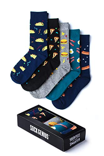 Fast Food 5 Pair Gift Set Variety Pack Multicolor Carded Cotton Novelty Crew Dress Socks (UNISEX)
