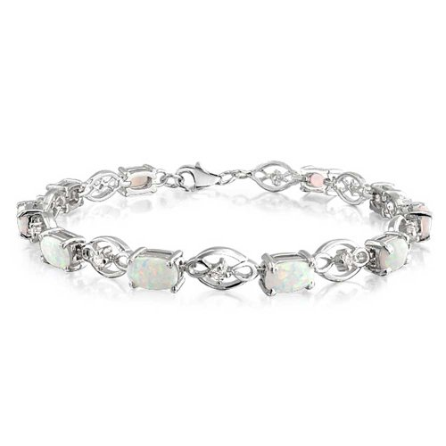 Synthetic White Opal Infinity Link Tennis Bracelet 925 Silver 7.5in Rhodium Plated
