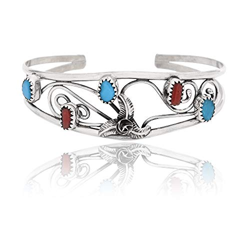 300Tag Flower Silver Certified Navajo Native Turquoise Coral Cuff Bracelet 12947-3 Made by Loma Siiva