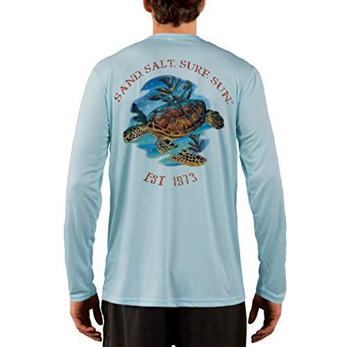 (SAND.SALT.SURF.SUN. Sea Turtle Men's UPF 50+ Long Sleeve T-Shirt Large Arctic Blue)