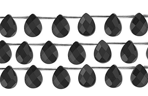 1 Strand 14 1/2 Inch 6x9 mm Flat Teardrop Black Onyx Gemstone Beads