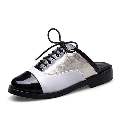 Heart&M Punta cerrada dedo del pie redondo talón plano de tacón bajo con cordones multicolores sandalias de los deslizadores los zapatos de cuero de las mujeres Gold