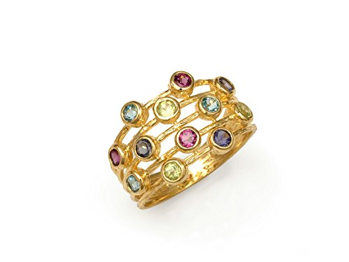 - 14K Yellow Gold Ring with .95ctw Multi Color Tourmaline, Confetti Ring