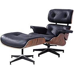 Mecor Lounge Chair with Ottoman Mid Century Style Walnut Wood 100% Grain Italian Leather&Heavy Duty Base Support for Living Room, Black