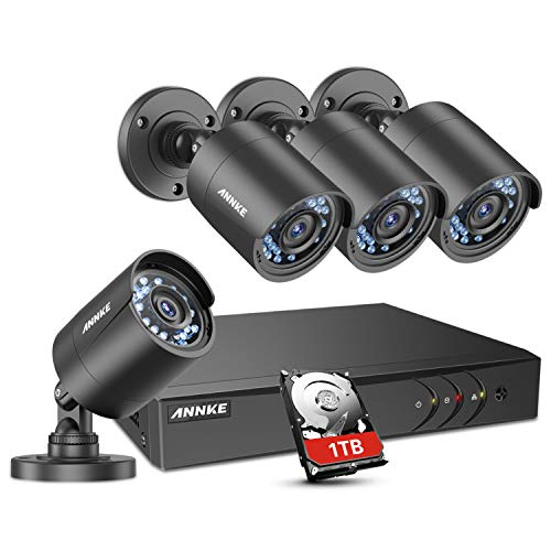 ANNKE 8 Channel 1080N HD-TVI DVR Security System w/ 4 720P Weatherproof Indoor/Outdoor CCTV Camera Systems, Superior Night Vision, Support AHD/TVI/CVI/960H Security Camera Mode