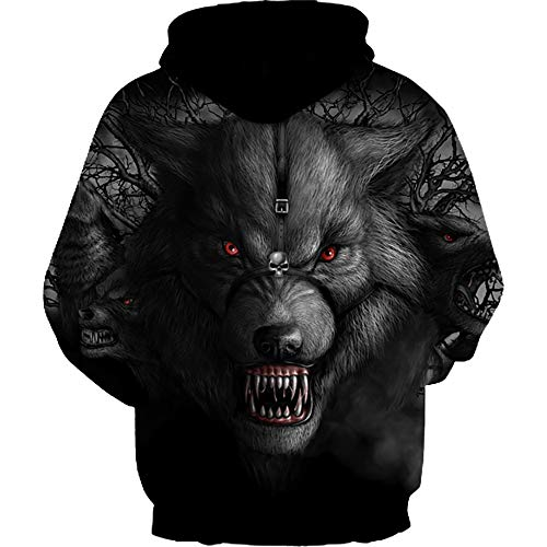 Galaxy Red Digital shirts Hoodie Capuche Imprimé Pull Printed Manches Takushihf Sweats À 3d Sweat Casual Wolf eyed Longues Unisexe xwERF