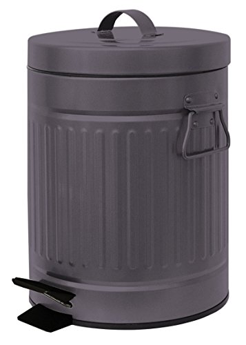 - Elaine Karen Deluxe Galvanized Steel Step Foot Pedal Retro Garbage Trash Can - 5 Liter - Copper