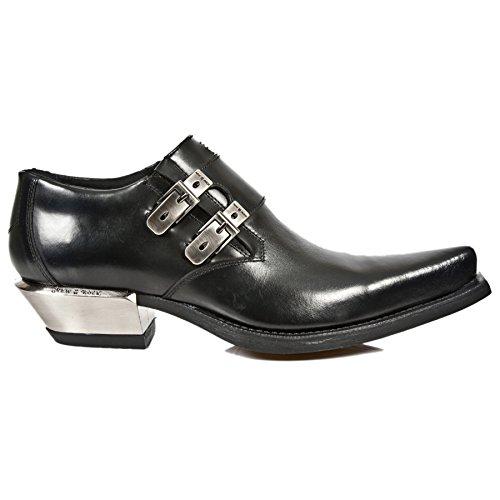 New Rock M.7934-S1 Metálico Negro Hebilla de Cuero West West Tacón Zapatos de Arranque