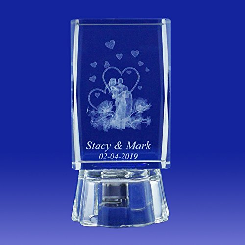 Nuestra Boda (12 PCS) Wedding Favors Personalized Custom Laser Etched Engraving 3D Bride & Groom Crystal Cube Glass (3″H)