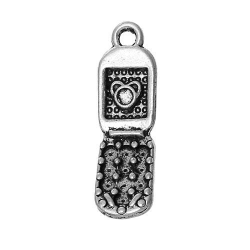 Paquet 6 x Argent Antique Tibétain 27mm Breloques Pendentif (Téléphone Portable) - (ZX12970) - Charming Beads