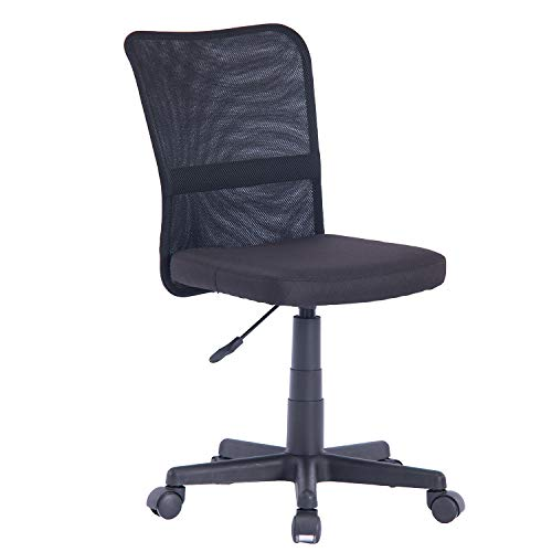 Home Ergonomic Mesh Medium Back Milan Fabric Seat Computer Desk Task Office Chair Without Arm ELEM001 (Black) (Arm On Chairs Sale)