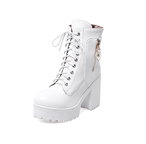 Adeesu Filles Chunky Talons Bout Rond Lacets Imitation Cuir Bottes Blanc