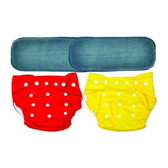 MOMY MOM Washable Reusable Baby Cloth Pocket Diaper Covers with 4 Layer with Inserts, 0-24 Months, Multi Colours (Pack