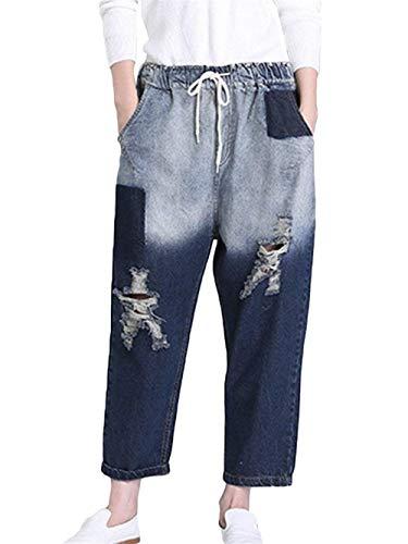 Harem Fit Hx Blau Chic Jeans Loose Fashion Baggy Strech Donna Pantaloni Strappati Con qx7wrzaxI