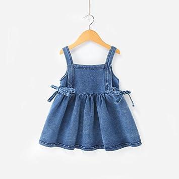 XIU*RONG Bebé Vestidos Faldas Faldas Faldas Y Vestidos De Bebe Cowboy Blue 90Cm
