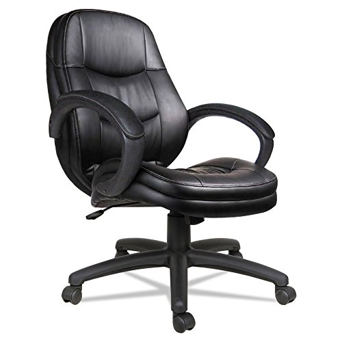Alera PF4219 Pf Series Mid-Back Office Chair, Black Leather Frame