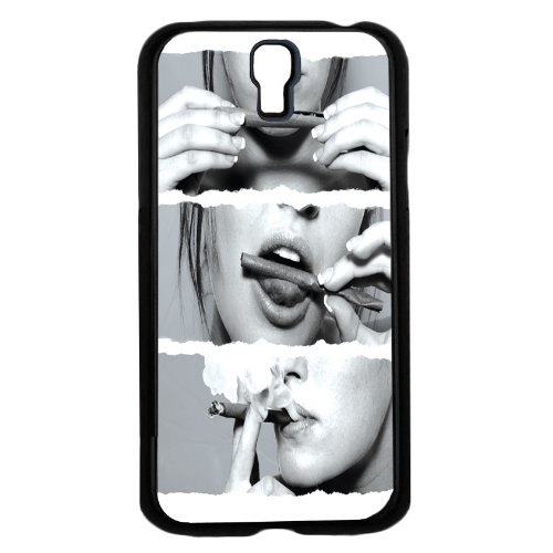 """""""Roll, Lick, Enjoy"""" Blow Smoke Black and White Background Hard Snap on Phone Case (Galaxy s4 IV)"""