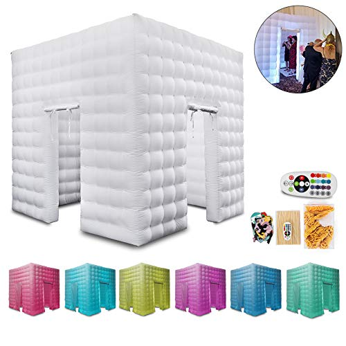 Happybuy Inflatable Portable Photo Booth Enclosure with LED Changing Lights Inner Air Blower and Controller for Wedding Party Promotions Advertising Photo Booth Tent Cube (Two Door) (Cheap Photo Booth)