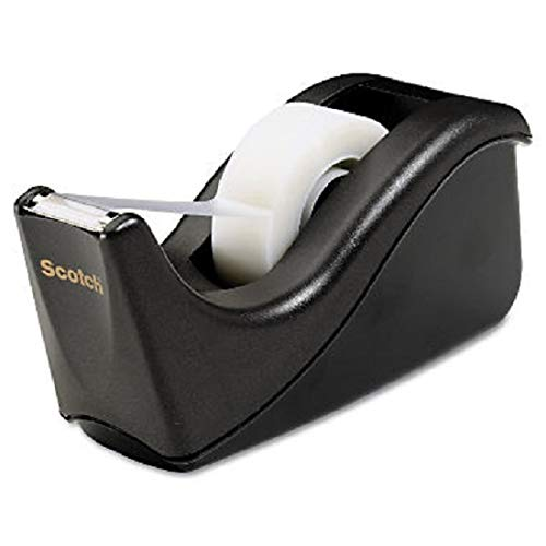 Scotch Value Desktop Tape Dispenser, 1 Inch Core, Two Tone Black (C60-BK) (3 Pack)