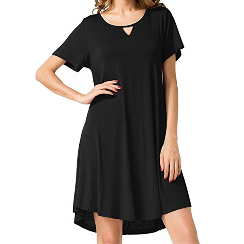 Answerl Women's Short Sleeve Flat Neck Casual Dress Knee Length Curved Keyhole Front Solid Shirt Dresses Black