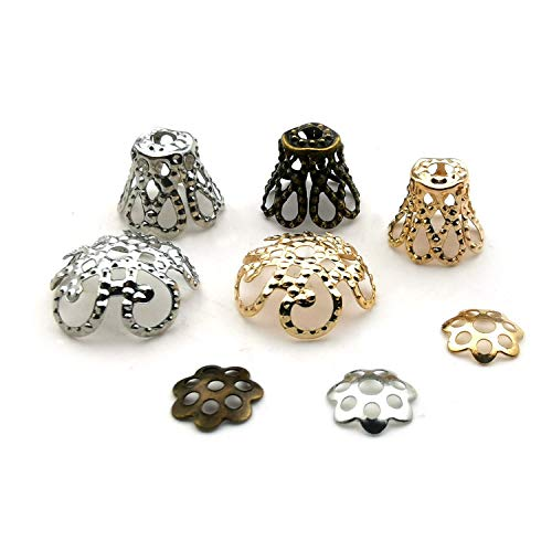 Mixed 1100 Pcs Hollow Flower Beads End Caps for Jewelry Making Bracelet Necklace Earrings M265 ()