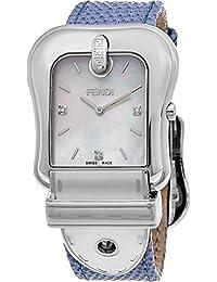 Fendi Women's 'B.' Swiss Quartz Stainless Steel and Leather Dress Watch, Color:Blue (Model: F382014531D1)