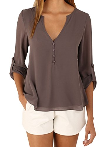 Women's Plus Size Casual V Neck Cuffed Sleeves Solid Chiffon Blouse Khaki 2XL