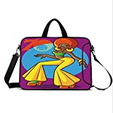 """13"""" Neoprene Laptop Bag Sleeve with Handle,Adjustable Shoulder Strap & External Side Pocket,70s Party Decorations,African American Woman Dancing at Disco Funky Fashion Smiling Face Decorative,Multic"""
