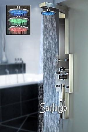 Sanlingo - Columna de ducha 6 modos hidromasaje (acero inoxidable ...