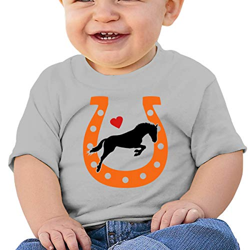 Horse Love Horseshoe Toddler Short Sleeve T-Shirt Boys Birthday Gift Gray ()