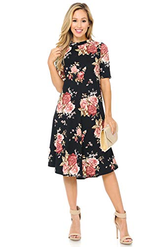 iconic luxe Women's Mock Neck Trapeze Midi Dress Small Floral Black Blush ()
