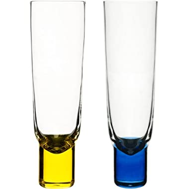 Sagaform 5015691 2-Pack Hand-Blown Champagne Glasses, Blue and Yellow
