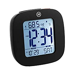 Marathon Small Compact Alarm Clock with Repeating Snooze, Light, Date and Temperature Travel Collection. Batteries Included. Color - Black. SKU - CL030058BK